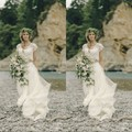 Vintage Lace Two Pieces Bohemian Wedding Dresses 2017 Country Style Hippy Wedding Dress with Sleeves Vestido de novia bohemio