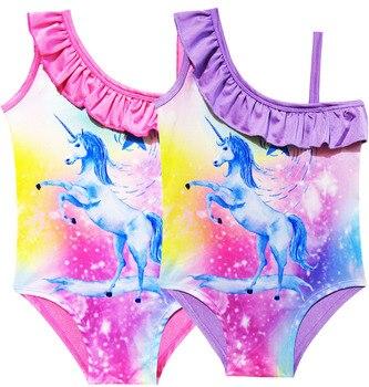 New Summer robe fille Unicorn Girls Beach Style dress vaiana Bikini one piece Swim Bow wear Kids Children girl Swimsuits biquini rose