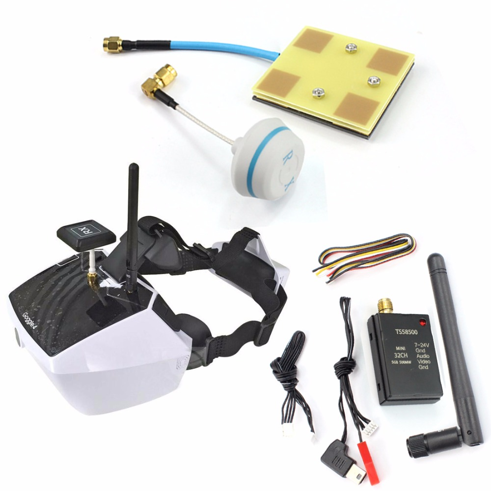 5.8G Goggle4 FPV Video Glasses with 1000/600/500/300mW Wireless AV Transmitter Mushroom Antenna TX Cable Set for DIY Multicopter