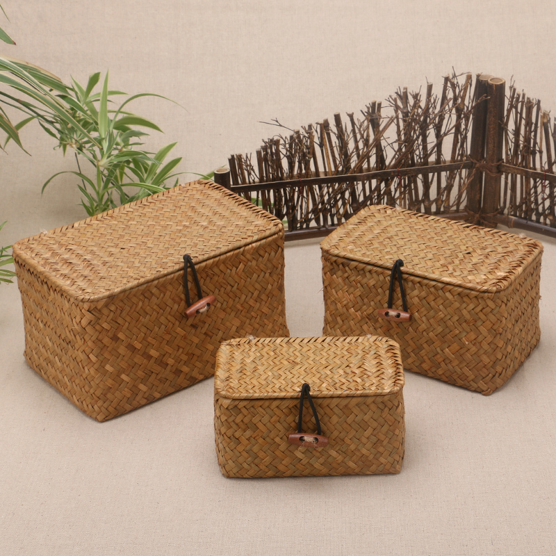 Rattan Weave Storage Box With Lid For Bulk Products Sundries Organizer Seaweed Vintage Straw Basket Container Jewelry Wicker