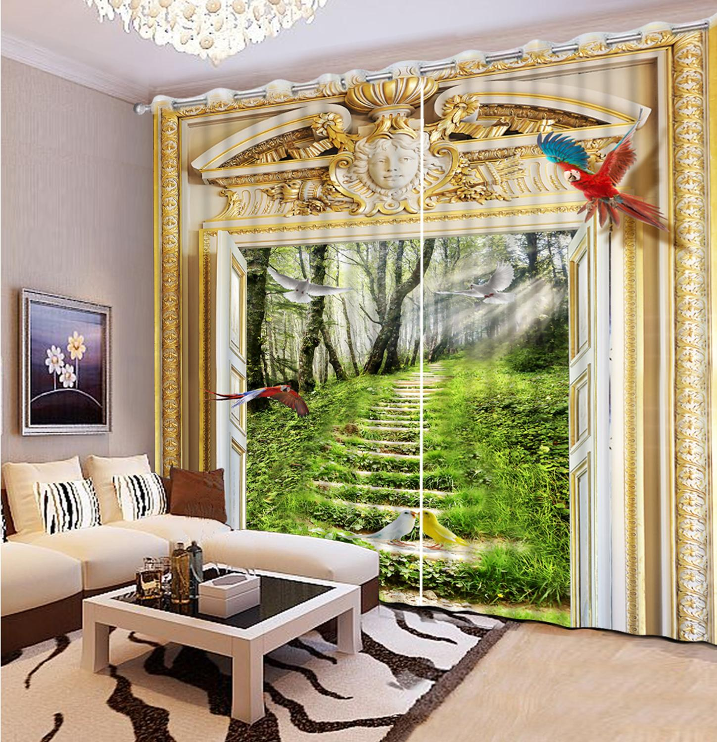 Customize 3D Curtains Home Windows Sunny White Pigeon Long Curtain For The Living Room
