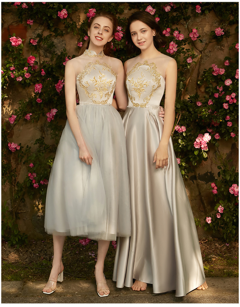 Walk Beside You Gray   Bridesmaid     Dresses   Satin A-line Long Gold Lace Appliques Sleeveless robe Demoiselle d Honneur Vestito