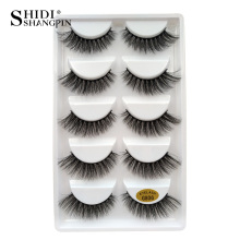 False Eye Lash 100% Real 3D Mink řasy 5 párů řada make-upu Profesionální Lashes Natural Long 1cm-1.5cm styl G806