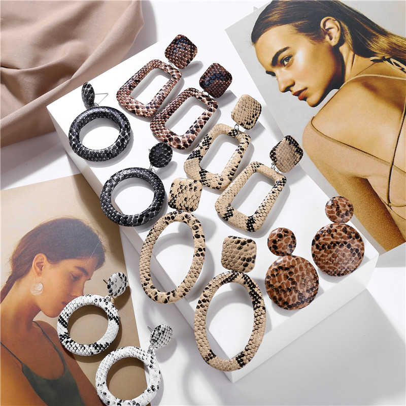 Oversize Geometric Drop Snake Earrings for Women Punk Vintage Big Snake Skin Dangle Earrings Female Jewelry Gift Bijoux 2019 New