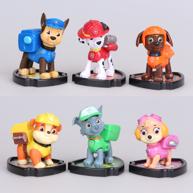 New 6pcs Patrol Dog Toys Dolls Action Figures Anime Puppy Patrulla Canina Juguetes Brinquedos Children Kids Toys Gifts WJ439 new 3 5inch patrol dog anime toys action figure moviejuguetes brinquedos cute puppy patrol toys for child gift girls children