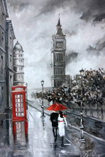 Top Artist Handpainting Streetscape Black and White Knife Oil Painting on Canvas Handmade the Couple with Red Umbrella in Rain
