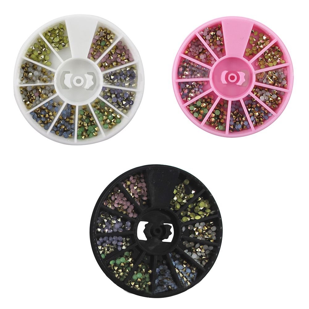 6 Colors 2.5mm 3D Acrylic Opal Rhinestone Nail Art Decoration Wheel Beauty DIY