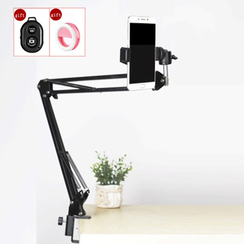 Photography Phone Clip Bracket Suspension Arm Stand Clip Holder and Table Mounting Clamp Pop Kits for Live Show Shooting Video