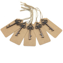 50pcs/Lot Vintage Metal Skeleton Key Bottle Opener with Escort Tag Card Wedding Party Favor Guest Rustic Gift Decor