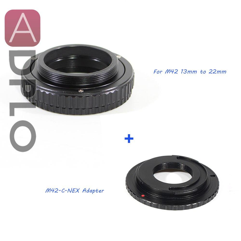 ADPLO 13mm à 22mm M42 objectif réglable mise au point hélicoïdal Macro Tube adaptateur costume pour M42 ou C monture objectif à caméra NEX