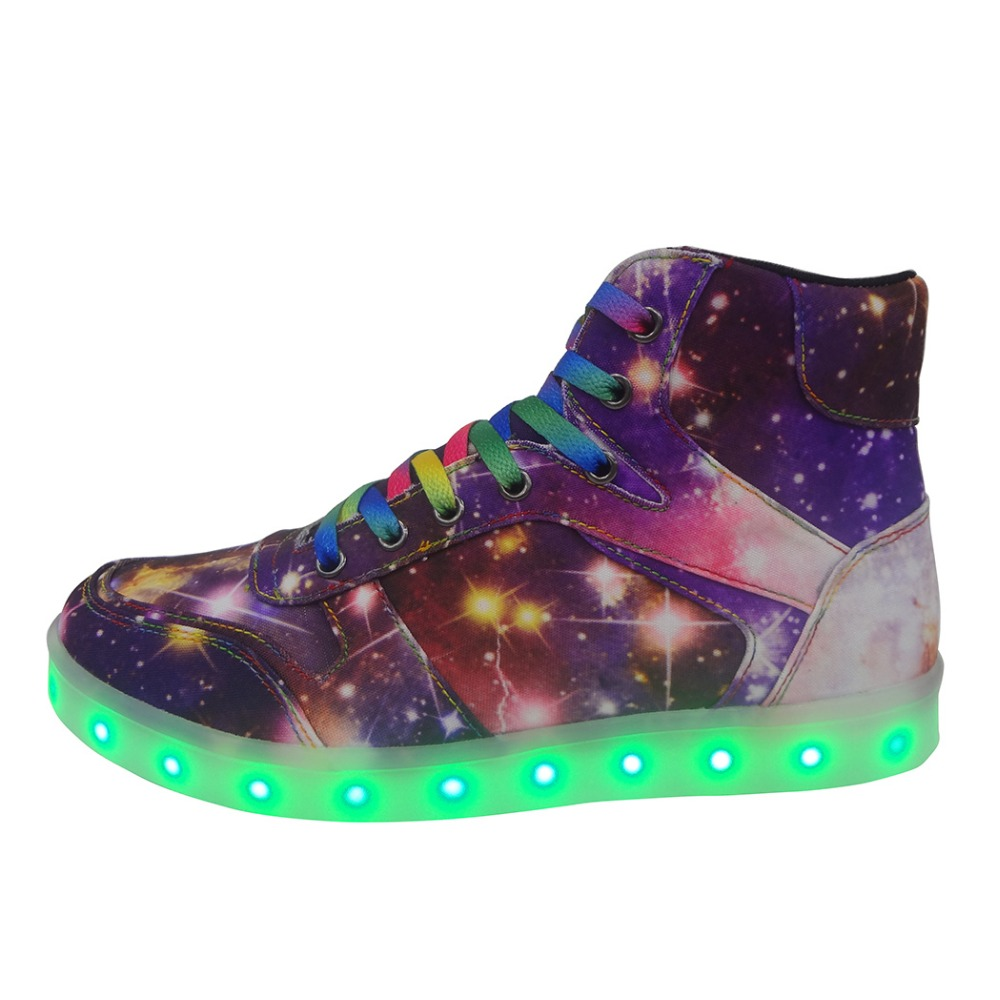 Children Luminous Sneakers Boys/Girls 2017 fashion high top LED Lighted glowing canvas printed shoes Unisex Kids casual flats new arrival spring autumn children shoes boys girls single shoes girls boys sneakers high quality casual canvas cs 119