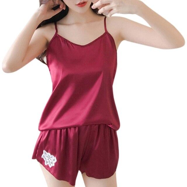 1Set Womens Sexy Faux Silk Sleeveless Camis Pajamas Set Flower Embroidery Sleepwear W77