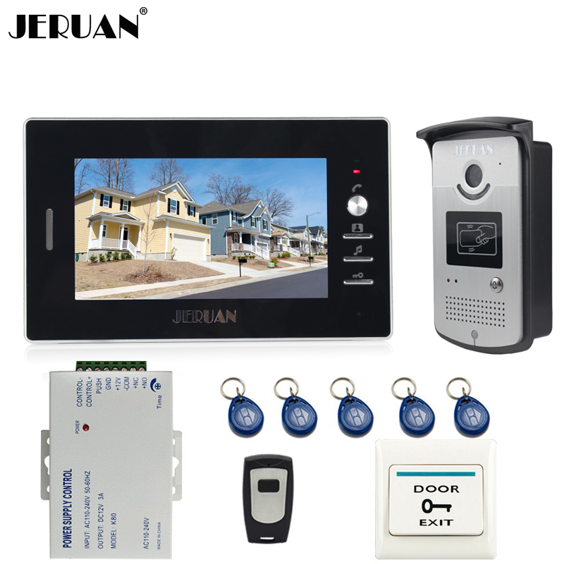 JERUAN Home 1V1 Doorbell intercom 7 inch LCD Video Door Phone Intercom System kit 700TVL RFID Access Camera + Remote Control jeruan home 7 video door phone intercom system kit 1 white monitor metal 700tvl ir pinhole camera rfid access control in stock
