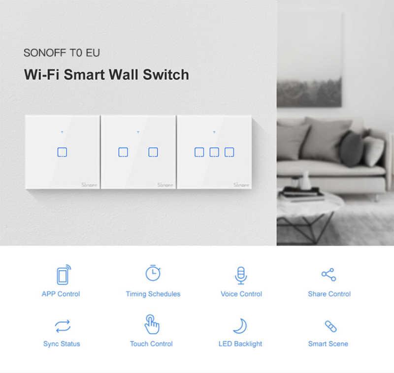 Oryginalny Sonoff T0 US/UK/EU Standard 1/2/3 gang WiFi przełączniki ścienne eWeLink pilot zdalnego control działa z Alexa Google domu
