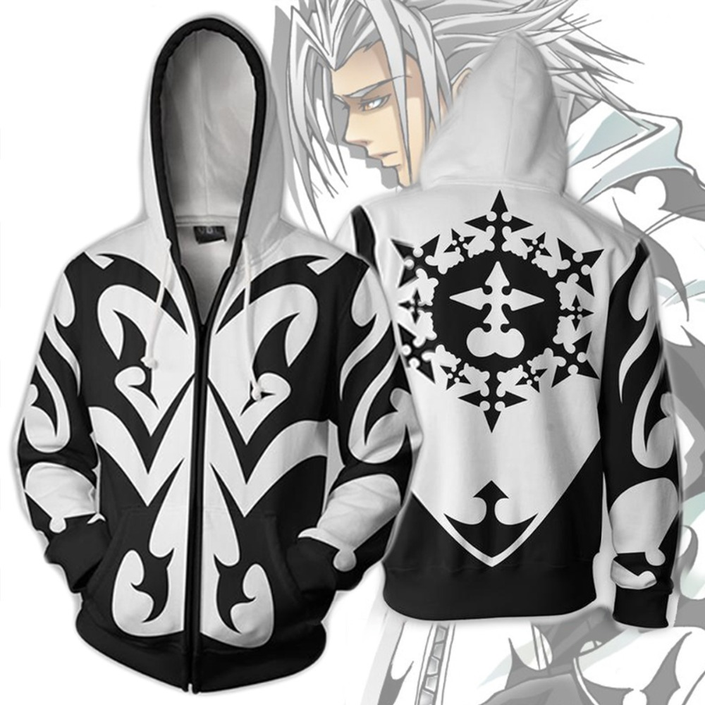 Kingdom Hearts Costume Men Sweatshirt Xemnas Roxa Cosplay Anime 3D Printed Sweatshirt Zipper Cartoon Hooded Sweatshirts