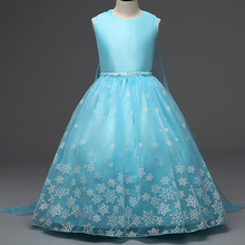 AmzBarley Girls princess Elsa Dress mesh Voile Halloween Party costume children Ball Gown kids snow queen Tutu Dress clothes hurave embroidery kids o neck princess baby girls sleeveless dress clothes children lace tutu dress ball gown solid mesh dress