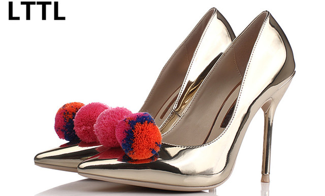 1086d64c2e0 Europe Style New Spring Autumn Colorful Pompoms High Heels beautiful Silver  Mirror Pointed Toe Women Pumps all-match Banquet Sho