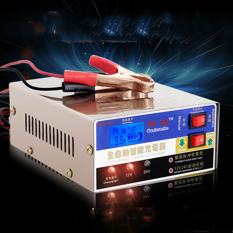 Auto smart car motorcycle battery charger intelligent 12v 24v full automatic lead acid battery charger pulse repair type 100ah automatic car battery charger intelligent 6v 12v full automatic electric car battery charger for lead acid battery us plug