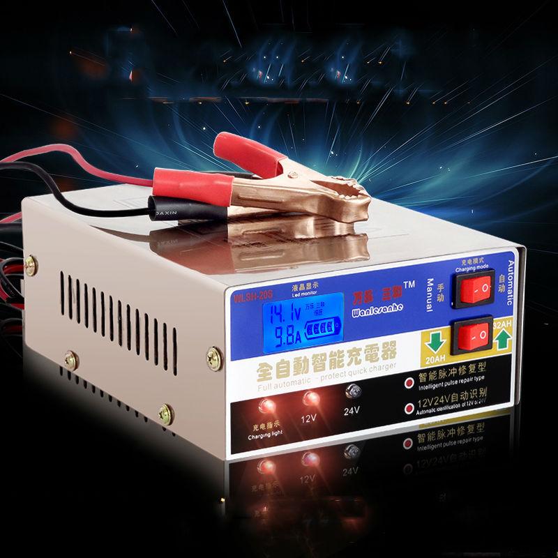 Smart Auto voiture moto batterie chargeur intelligent 12 v 24 v entièrement automatique plomb acide batterie chargeur réparation d'impulsion type 100ah