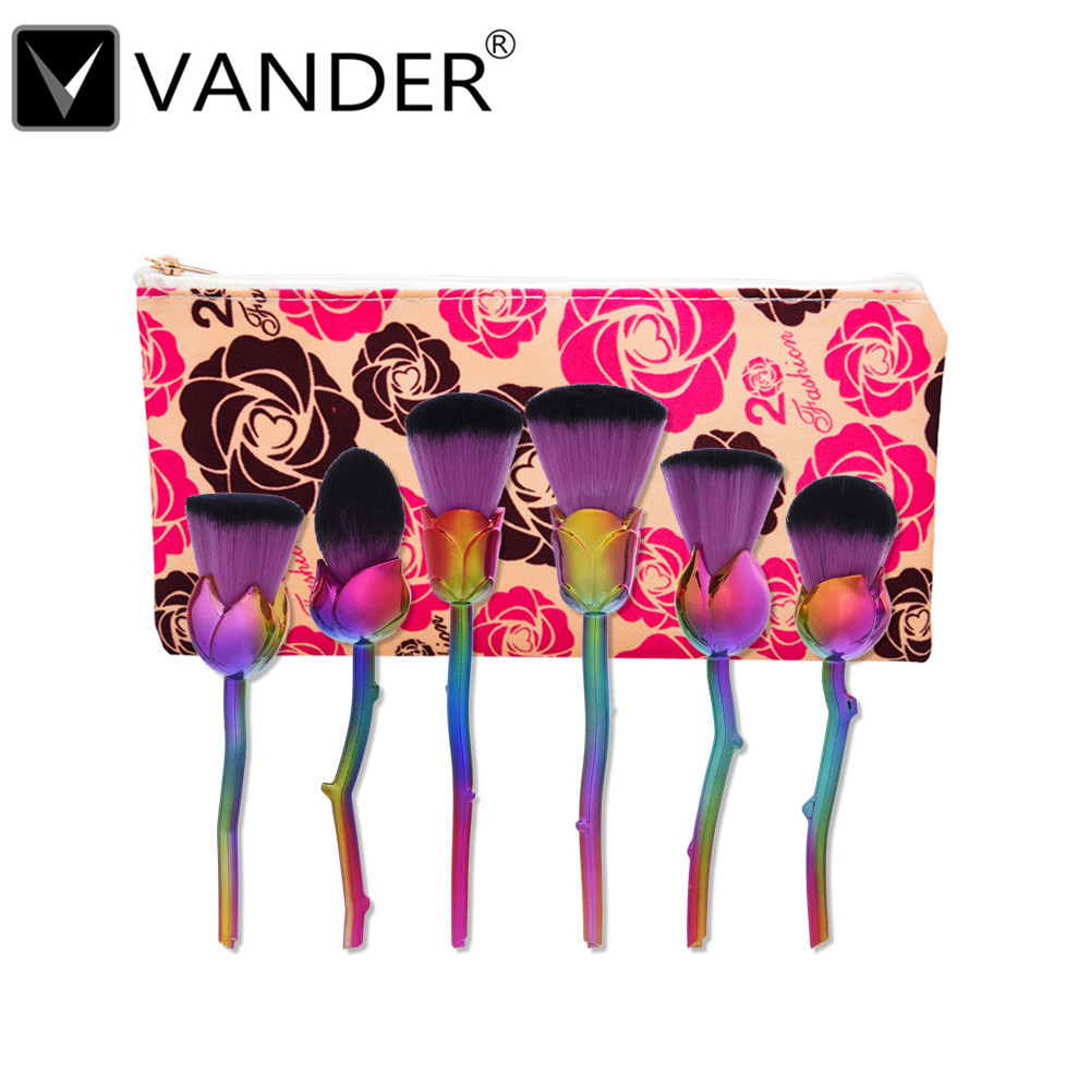 VANDER Rose Brushes New Design 6pcs Rose Shaped Makeup Brushes set Foundation Powder Make Up Brushes Blush Rose Brush Set tools hot sale 6pcs set gold rose shaped makeup brushes foundation powder make up brushes blush brush set pincel maquiagem