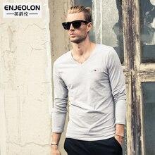 Enjeolon Brand 2017 Mens Fashion t Shirts Clothing For Man s Long Sleeve cotton Slim black