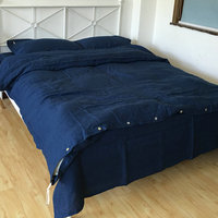 1 Set 4 Piece Waterwash Navy 100 Pure Line Bedding Sets Linen Sheets Free Shipping
