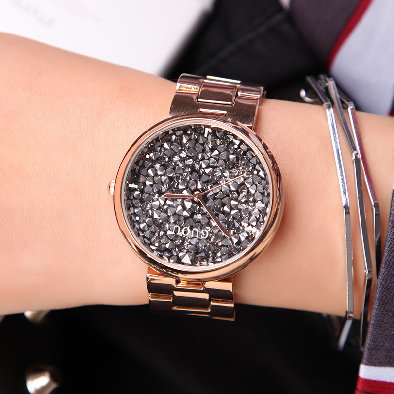 цены  GUOU Luxury Diamond Watch Women Watches Fashion Shiny Rhinestone Women's Watches Clock  saat relogio feminino reloj mujer gift