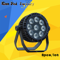 8pcs/lot 9*18W LED RGBWA UV 6IN1 Color mixing Stage Disco IP65 DMX Waterproof Par Lights