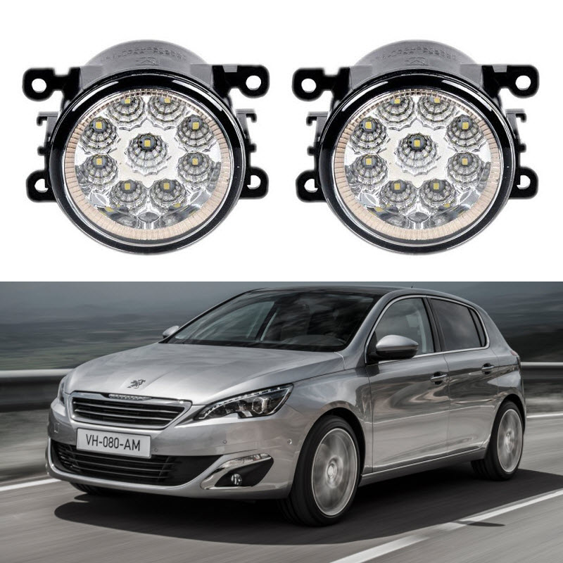 car styling for peugeot 308 t9 308 sw 2013 2014 2015 2016 9 pieces led fog lights h11 h8 12v. Black Bedroom Furniture Sets. Home Design Ideas