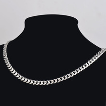 Wholesale 10 pcs/lot 5mm*60cm flat 316L stainless steel chain necklace Silver plated, fashion jewelry necklaces for men 13009