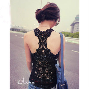 Back van fashion female the whole cutout crochet lace vest basic shirt all-match small vest