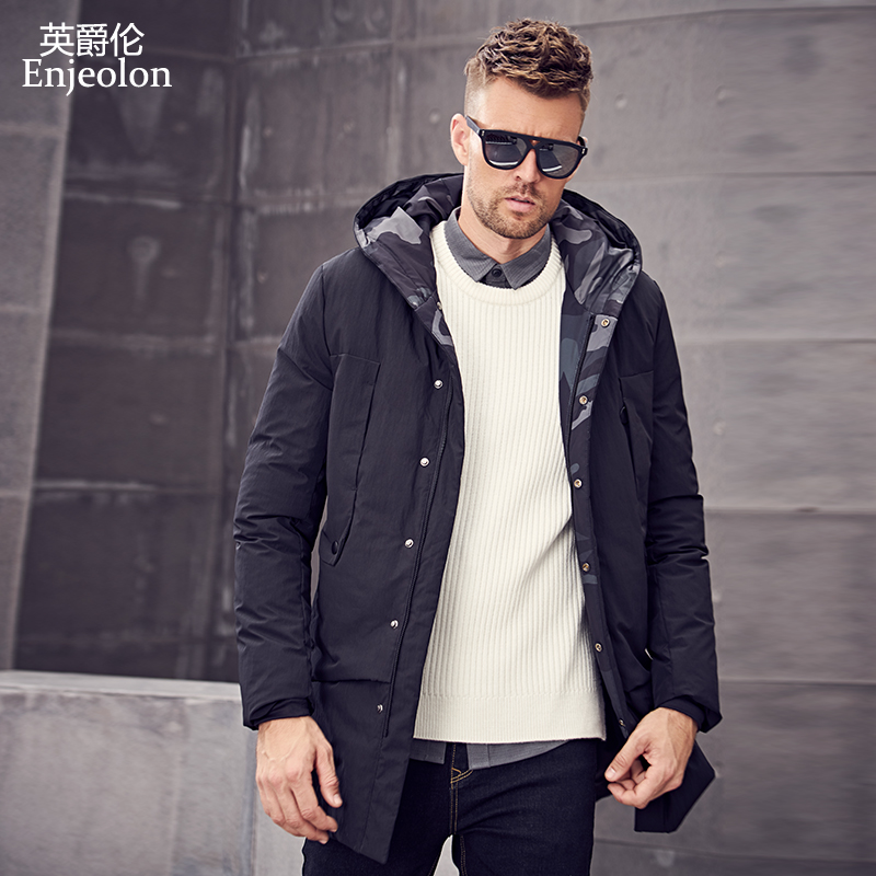 Enjeolon Brand Thicken Winter Down Camouflage Hooded Jacket Men Light Down Coat For Men Hoodies Parka Coat 3XL Down Parka YR2702