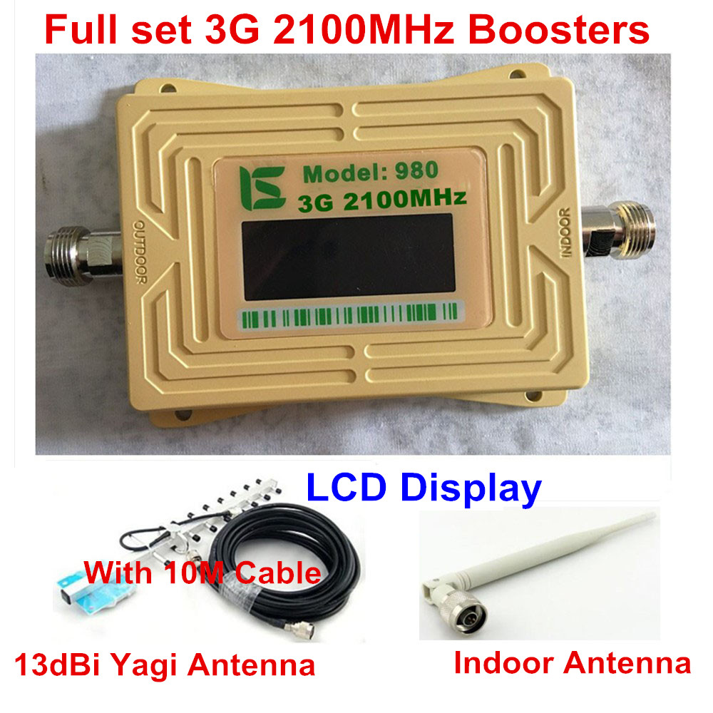 Lcd Display 13dBi Yagi Antenna + 2100MHz 3G WCDMA Mobile Phone Signal Booster 3G Repeater 2100 UMTS WCDMA Signal Amplifier