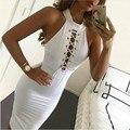 Vestido blanco de Verano sexy Hollow vestidos de partido Más El tamaño noche del vendaje del club vestido ajustado nueva moda 2016 vestido de las mujeres
