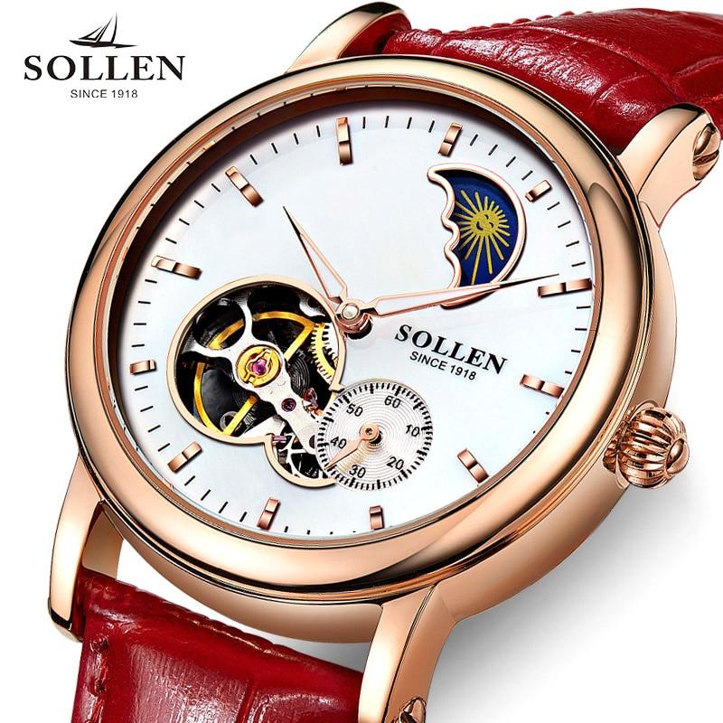 Luxury SOLLEN Brand Top Women Watch Automatic Machinery Dress Watch Hollow Design Waterproof Genuine Leather Band Watch Lady