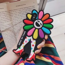 2019 Cartoon Sunflower Case with Strap for iPhone XS MAX 7 8 PLUS Silicone Cover Holder X XR 6 plus 6s