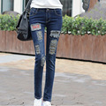 A new version of 2016 on behalf of slim slim hole black jeans female jeans stretch pencil pants
