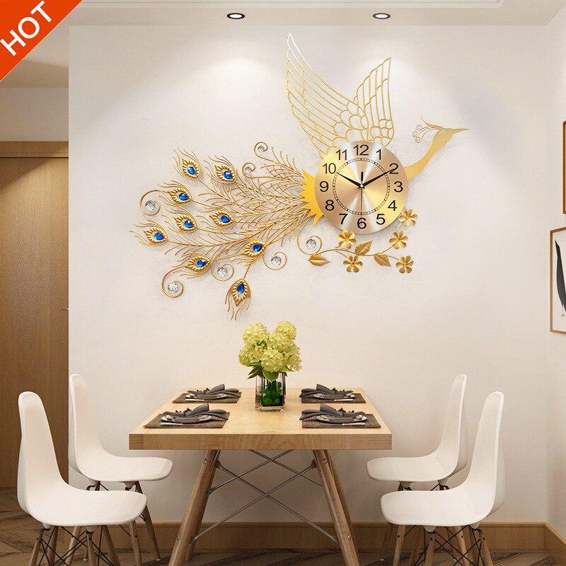 Hot, Creative Living Room Reloj De Pared European 3D Peacock Clock Modern Home Mute Wall Clock Fashion Decorative Quartz Clock