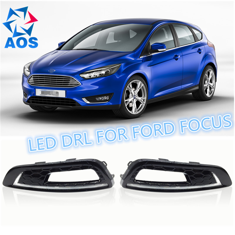 2PCs/set car styling AUTO LED DRL Daylight Car Daytime Running lights set For FORD FOCUS 4 2015 boomboost 2 pcs car led for ford new focus 2012 2014 daytiime running lights car styling