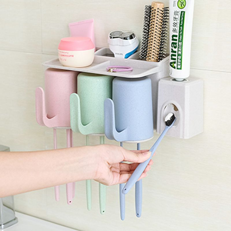 Rack Home Bath Set Automatic Squeezer Toothbrush Holder Toothpaste Dispenser