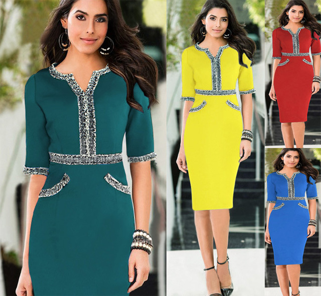 c0de421e13e 2015 New Fashion Women Spring Work Elegant Patchwork Stretch Tunic Business  Casual Office Formal Party Pencil Dress D066