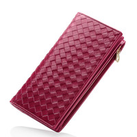 IMIDO cow leather long purse wallets for women genuine leather purse