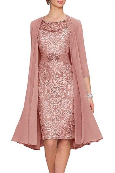 2019 мать невесты платья для женщин с шифоновая куртка кружево атласная оболочка Короткие по колено для Коктейльная Вечерние