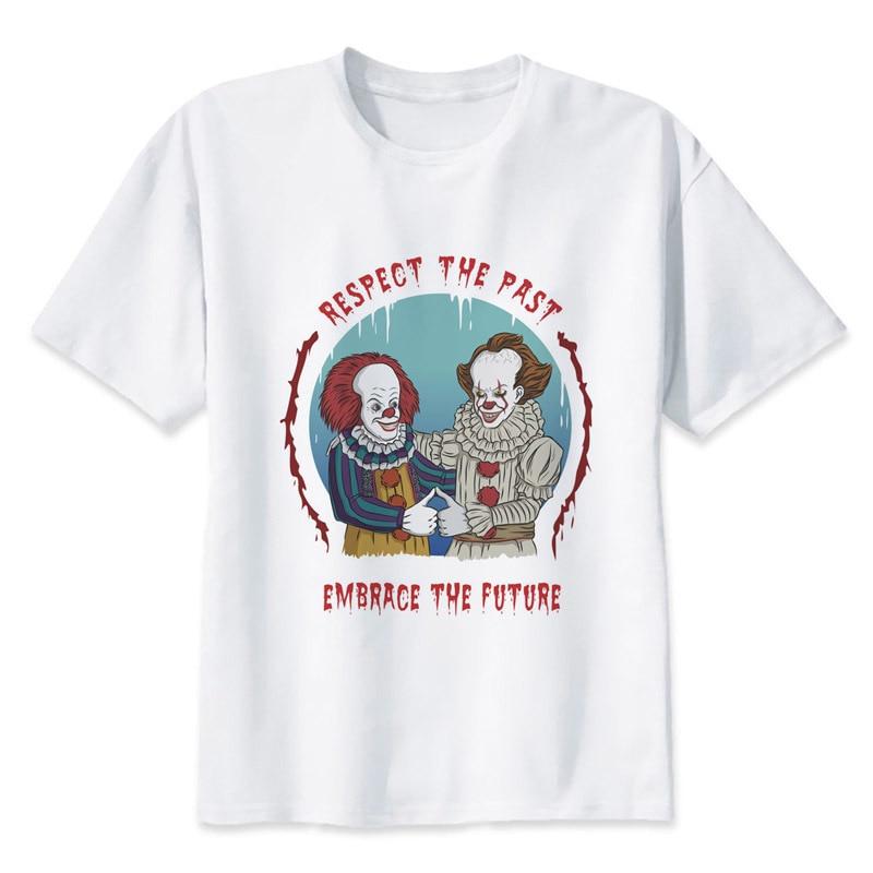 It Clown Pennywise T-shirt Men Summer T-shirt Boy Print Tshirt Anime T Shirt Brand Clothing White Color Tops Tees