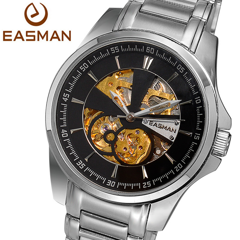 EASMAN Mens Watches Skeleton Roma Classic Automatic Machine Self winding Watches For Men Big Dail Clock