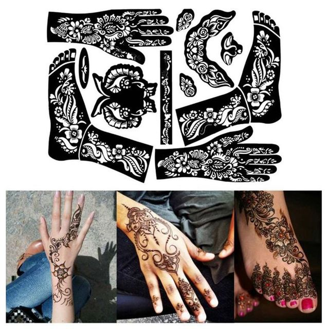 1pc Tattoo Templates Hands Feet Henna Stencils For Airbrushing Professional Mehndi Body Painting Kit Supplies