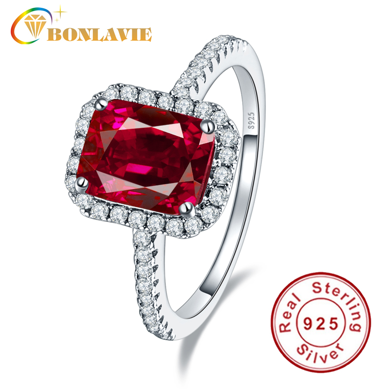 Luxury Geniune 925 Sterling Silver 3.6ct Square Cut Blood Ruby Wedding Engagement Rings Super Shiny Fine Jewelry For Bridal