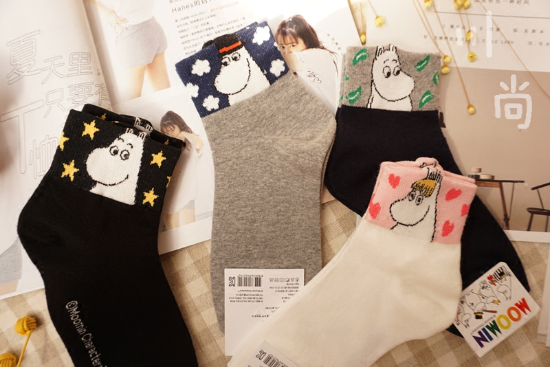 Skinny Moomin Cool Low Cut   Socks   For Women 3d Hippo Animal Foot Cover Golden Star Clound Tree Leaves Pattern 1pair