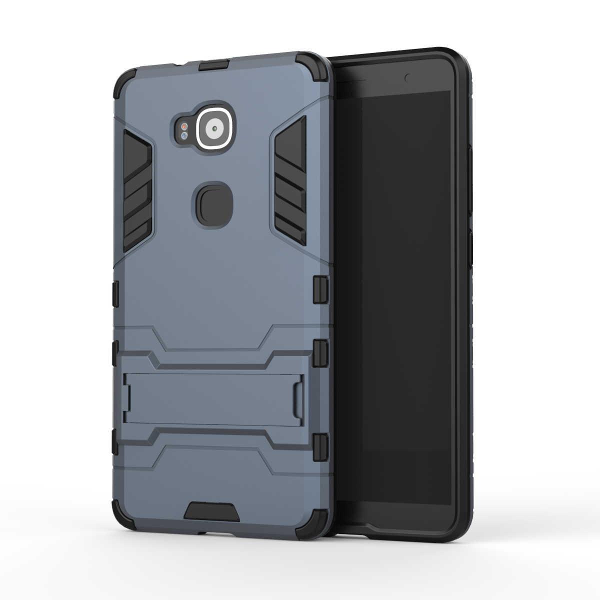 Per Huawei Caso G8 GX8 Heavy Armor Duty Ibrida Dura Molle robusta Gomma di Silicone Copertura Del Telefono Per Ascend G8 G7 Plus con Stand (<
