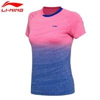 Li Ning Original Women AT DRY Badminton Shirts Breathable Light T Shirts Competition Top Comfort LiNing